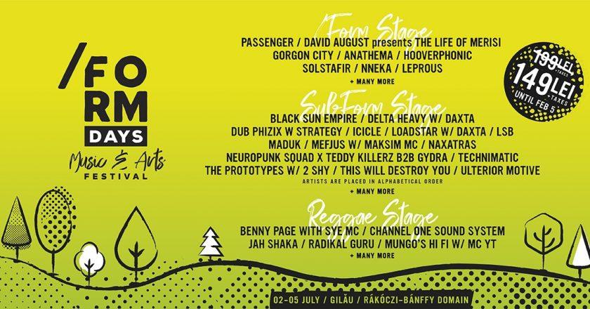 Bilete la preţ special la /FORM DAYS - noul festival din judeţul Cluj