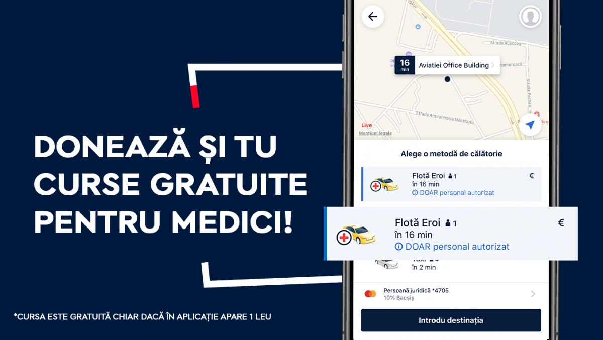 Curse gratuite pentru medicii din Cluj-Napoca prin aplicația de taxi și ridesharing FREE NOW