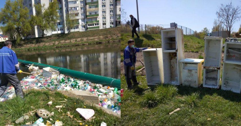 Cantități impresionante de deșeuri pe Someș în Cluj-Napoca: frigidere maşini de spălat PET-uri