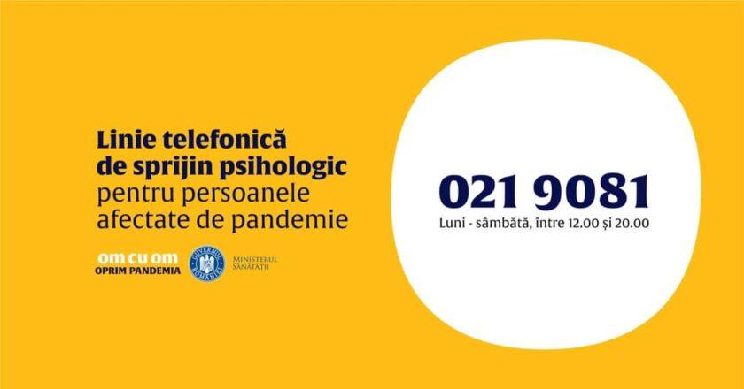 Linie telefonică de suport psihologic pentru persoanele afectate de COVID-19